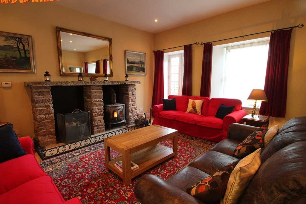 Red sofa in a dining room