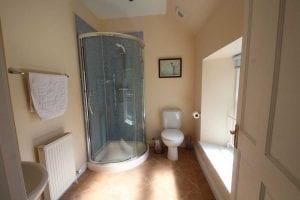 Shower unit in bathroom